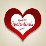 Cartão feliz do dia de Valentim, grande coração vermelho, tipografia, fundo claro Imagens de Stock Royalty Free