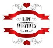 Cartão feliz do dia de Valentim no branco Fotos de Stock