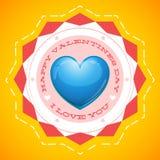 Cartão feliz do dia de Valentim no fundo amarelo Imagens de Stock