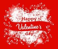 Cartão feliz do dia de Valentim no fundo vermelho Foto de Stock Royalty Free