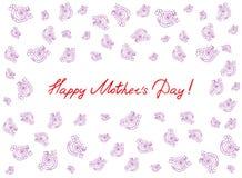 Cartão feliz do dia do ` s da mãe com elementos handdrawn e handlettering no fundo branco Flores cor-de-rosa Foto de Stock Royalty Free
