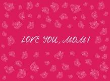 Cartão feliz do dia do ` s da mãe com elementos handdrawn e handlettering no fundo cor-de-rosa Flores brancas Imagens de Stock