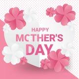 Cartão feliz do dia do ` s da mãe na equipe doce - texto cor-de-rosa com as flores de papel brancas e cor-de-rosa no fundo do pap ilustração stock