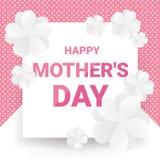 Cartão feliz do dia do ` s da mãe - o texto cor-de-rosa com Livro Branco floresce no teste padrão de ponto cor-de-rosa e no fundo ilustração royalty free