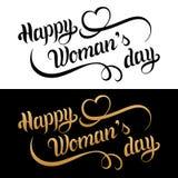 Cartão feliz do dia do ` s da mulher Fundo do amor do vintage 8 de março rotulação escrita à mão Caligrafia encaracolado com cora Fotos de Stock