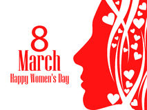 Cartão feliz do dia do ` s das mulheres 8 de março Cara fêmea com o texto das felicitações Cartão do feriado Ilustração do vetor ilustração royalty free