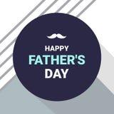 Cartão feliz do dia do ` s do pai Texto branco e azul com o bigode no fundo cinzento abstrato da cor Ilustração do vetor ilustração royalty free