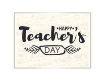 Cartão feliz do dia do ` s do professor Quadro brilhante com felicitações ao dia dos professores Etiqueta do ouro isolada sobre ilustração stock