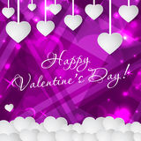 Cartão feliz do dia do ` s do Valentim com corações e espaço para o texto Fundo do vetor Fotografia de Stock Royalty Free