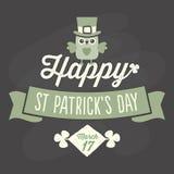 Cartão feliz do dia do St Patricks no quadro ilustração royalty free