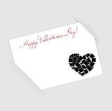 Cartão feliz do dia dos Valentim com coração. Vetor Ilustração Royalty Free