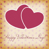 Cartão feliz do dia dos Valentim com coração. Vetor Fotos de Stock