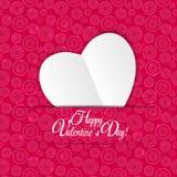 Cartão feliz do dia dos Valentim com coração Vetor Fotografia de Stock