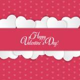 Cartão feliz do dia dos Valentim com coração Vetor Imagens de Stock Royalty Free