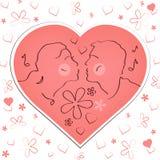 Cartão feliz do dia do `s do Valentim Acople as caras, dois pessoas na silhueta do coração Ilustração do vetor ilustração royalty free