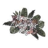 Cartão feliz do dia do ` s do Valentim com ramalhete Fotografia de Stock Royalty Free