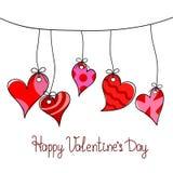 Cartão feliz do dia do ` s do Valentim com suspensão vermelha de cinco corações ilustração do vetor