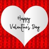 Cartão feliz do dia do ` s do Valentim com um grande coração branco Fotos de Stock