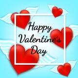 Cartão feliz do dia do `s do Valentim Coração vermelho com asas do anjo Fotografia de Stock Royalty Free