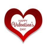 Cartão feliz do dia do ` s do Valentim, grande coração vermelho Fotografia de Stock
