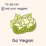 Cartão feliz do dia do vegetariano Ilustração do estilo do Doodle O cartão com inscrição vai vegetariano Coma seus cartões dos ve ilustração do vetor