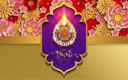 Cartão feliz do festival de Diwali ilustração royalty free