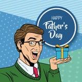 Cartão feliz do pop art do dia de pais ilustração royalty free