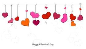 Cartão feliz do ` s do Valentim com corações de suspensão fundo romântico Foto de Stock Royalty Free