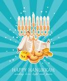Cartão feliz do vetor do Hanukkah no estilo moderno ilustração do vetor