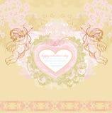 Cartão feliz do vintage do dia de Valentim com cupidos Foto de Stock