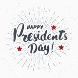 Cartão feliz dos EUA do vintage do dia do ` s do presidente, celebração do Estados Unidos da América Rotulação da mão, te america ilustração royalty free