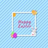 Cartão feliz engraçado e colorido da bandeira moderna da Páscoa com fundo do coelho, da ilustração do coelho, dos ovos, do texto  ilustração stock