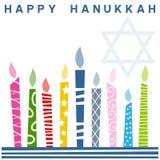 Cartão feliz retro de Hanukkah ilustração royalty free