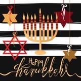 Cartão feliz tirado mão do Hanukkah Imagens de Stock