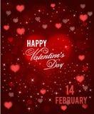 Cartão feliz vermelho do dia de Valentim com corações e sparkels Vetor Fotografia de Stock Royalty Free