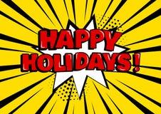 Cartão festivo Bolha cômica branca com BOAS FESTAS sobre fundo amarelo no estilo do pop art Ilustração do vetor ilustração do vetor