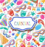 Cartão festivo com ícones e objetos coloridos do carnaval Imagens de Stock Royalty Free