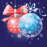 Cartão festivo com bolas do Natal Imagem de Stock Royalty Free