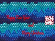 Cartão festivo no estilo oriental com texto - ano novo feliz e Feliz Natal ilustração do vetor