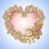 Cartão festivo para um casamento ou uma grinalda do aniversário das rosas Fotografia de Stock Royalty Free