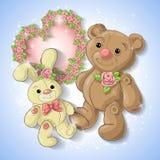 Cartão festivo para um casamento ou uma grinalda do aniversário das rosas Imagem de Stock Royalty Free
