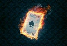 Cartão flamejante do pôquer Fotos de Stock