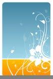 Cartão floral azul e alaranjado ilustração do vetor