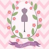 Cartão floral brilhante com os desenhos animados bonitos que costuram Imagens de Stock