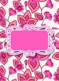 Cartão floral colorido com bandeira Foto de Stock Royalty Free
