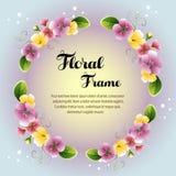 Cartão floral colorido do quadro da grinalda do círculo ilustração do vetor