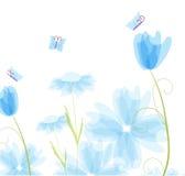 Cartão floral com borboletas ilustração stock