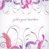 Cartão floral com plantas e as folhas abstratas ilustração royalty free