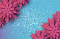 Cartão floral cor-de-rosa cortado papel Flor de Origami Espaço para o texto Flor da mola Feriado sazonal em azul-céu ilustração stock