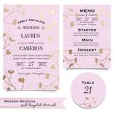 Cartão floral cor-de-rosa do convite Ajuste fundos para a celebração do casamento Fotografia de Stock